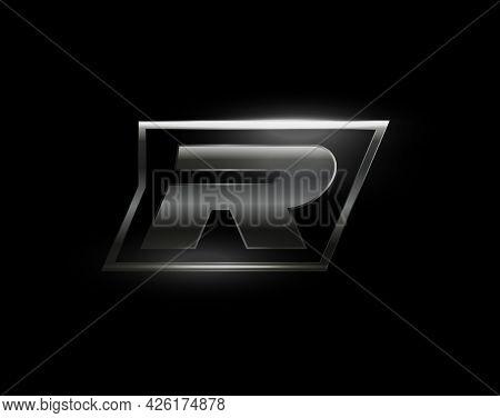 Carbon Speed Letter R Logo, Dark Matte Metal Carbon Texture. Drive Dynamic Steel Letter, Turbo Bold