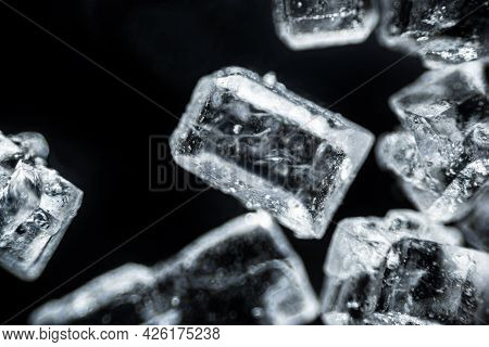 Crystal Sugar Macro On Black Background Under The Light Microscope, Magnification Of 40 Times, Micro