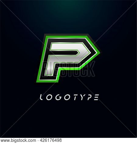 Letter P For Video Game Logo And Super Hero Monogram. Sport Gaming Emblem, Bold Futuristic Letter Wi