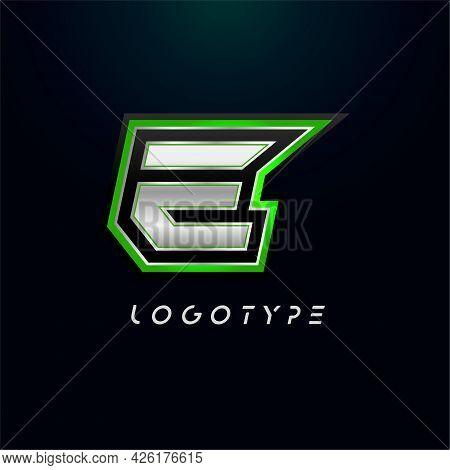 Letter E For Video Game Logo And Super Hero Monogram. Sport Gaming Emblem, Bold Futuristic Letter Wi