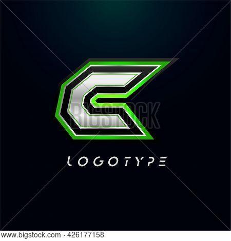 Letter C For Video Game Logo And Super Hero Monogram. Sport Gaming Emblem, Bold Futuristic Letter Wi