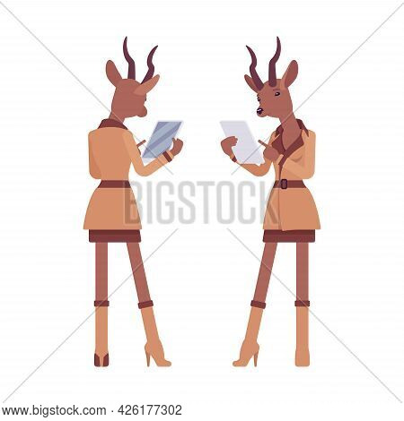 Roe Deer Woman With Tablet, Elegant Gazelle Lady, Animal Head Stylish Human. Deerlike Businesswoman,