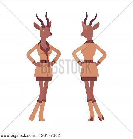 Roe Deer Woman, Elegant Lady, Animal Head Stylish Human Standing. Attractive Deerlike Businesswoman,
