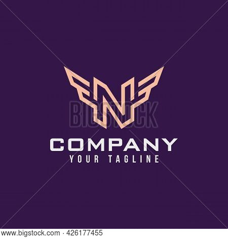 Luxury Logo Of The Letter N And Wings. Simple N Elements And Wings Vector Illustration Logo Design T