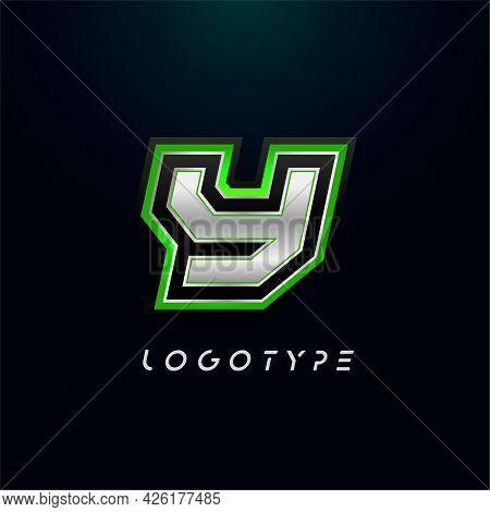 Letter Y For Video Game Logo And Super Hero Monogram. Sport Gaming Emblem, Bold Futuristic Letter Wi