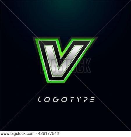Letter V For Video Game Logo And Super Hero Monogram. Sport Gaming Emblem, Bold Futuristic Letter Wi