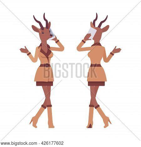 Roe Deer Woman Walking With Smartphone, Elegant Gazelle Lady, Animal Head Stylish Human. Deerlike Bu
