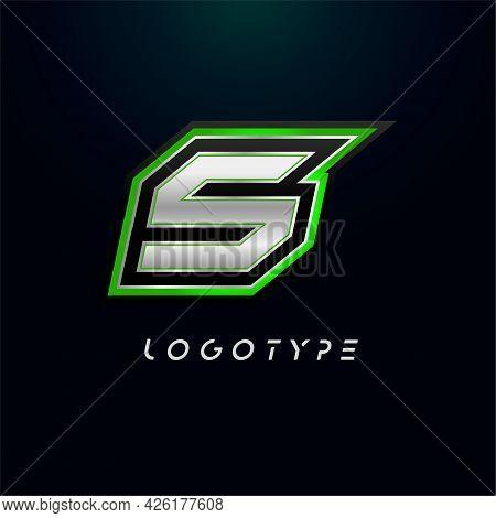 Letter S For Video Game Logo And Super Hero Monogram. Sport Gaming Emblem, Bold Futuristic Letter Wi