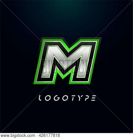 Letter M For Video Game Logo And Super Hero Monogram. Sport Gaming Emblem, Bold Futuristic Letter Wi