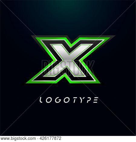 Letter X For Video Game Logo And Super Hero Monogram. Sport Gaming Emblem, Bold Futuristic Letter Wi