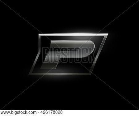 Carbon Speed Letter P Logo, Dark Matte Metal Carbon Texture. Drive Dynamic Steel Letter, Turbo Bold
