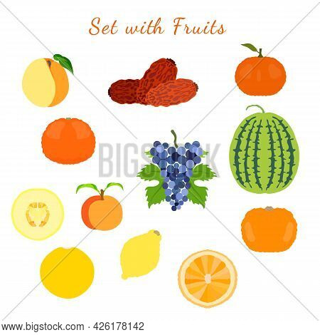 Sweet And Sour, Whole And Half Cutted Citrus Fruits, Melon, Watermelon, Dates, Grape, Apricot And Pe