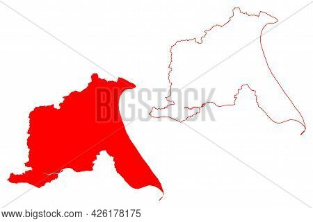 East Riding Of Yorkshire County (united Kingdom, Ceremonial County Of England) Map Vector Illustrati