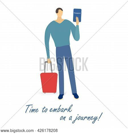 Single Man With A Passport And A Suitcase Isolated. Joyful Traveler Ready To Embark On A Journey. Si