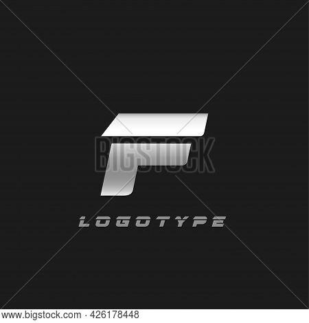 Blade Silver Letter F, Bold Italic Cropped Monogram. Aluminium Iron Metallic Vector Emblem For Auto