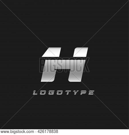 Blade Silver Letter H, Bold Italic Cropped Monogram. Aluminium Iron Metallic Vector Emblem For Auto