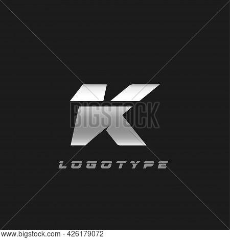 Blade Silver Letter K, Bold Italic Cropped Monogram. Aluminium Iron Metallic Vector Emblem For Auto
