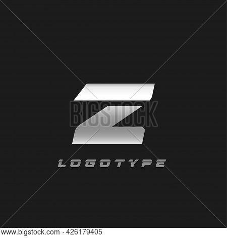Blade Silver Letter Z, Bold Italic Cropped Monogram. Aluminium Iron Metallic Vector Emblem For Auto