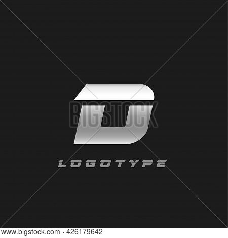 Blade Silver Letter D, Bold Italic Cropped Monogram. Aluminium Iron Metallic Vector Emblem For Auto