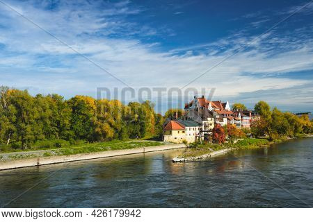 Old houses along Danube River in Regensburg, Bavaria, Germany