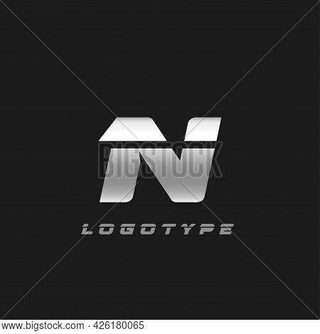 Blade Silver Letter N, Bold Italic Cropped Monogram. Aluminium Iron Metallic Vector Emblem For Auto