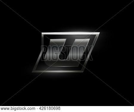 Carbon Speed Letter U Logo, Dark Matte Metal Carbon Texture. Drive Dynamic Steel Letter, Turbo Bold