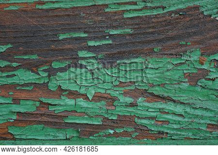 Green Brown Wooden Texture From Old Shabby Wood Board In The Wall