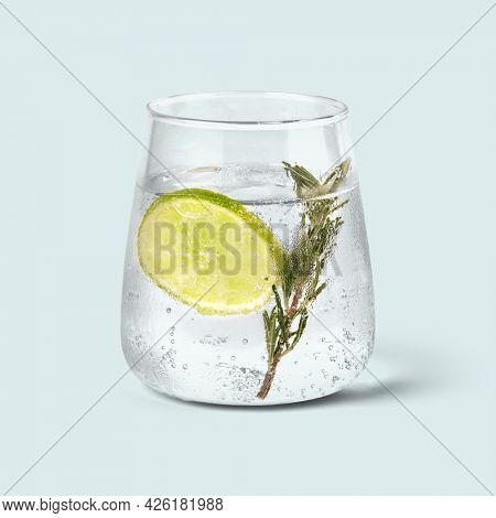 Gin and tonic with rosemary background