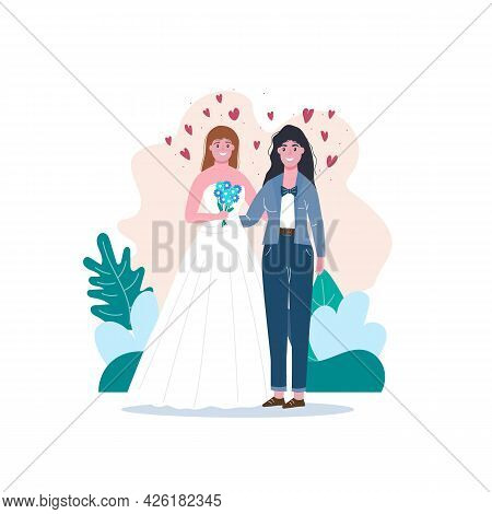 Unconventional Wedding. Lesbian, Gay, Bisexual And Transgender People Marriage.