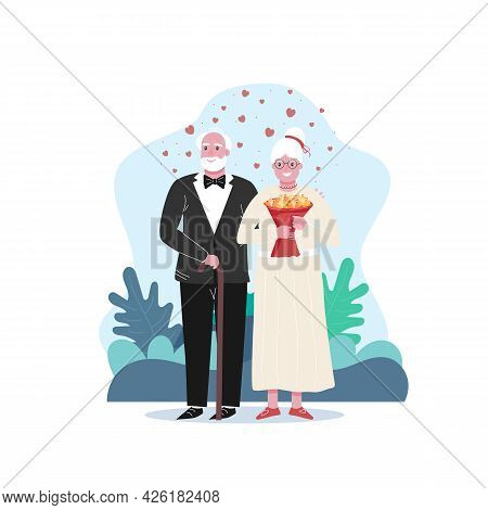 Unconventional Wedding Image. Eldrely Person Marriage Concept