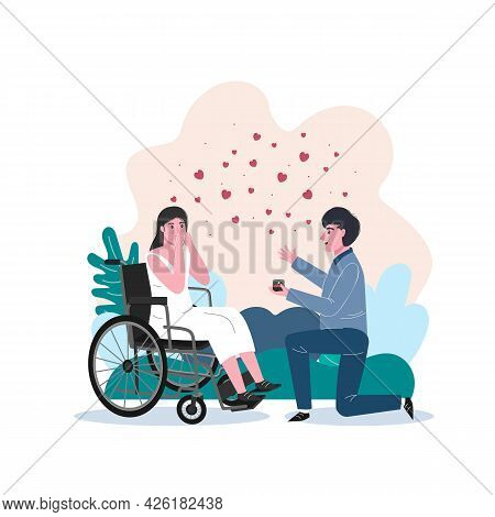 Unconventional Wedding. Incapacitated Person Marriage. Happy Woman Accepts A Proposal.