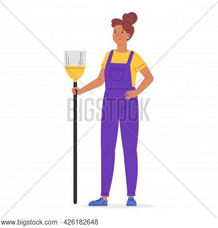 Young Worker Of Cleaning Service. A Woman Dressed In A Uniform With A Broom. Housekeeping Staff. Gir