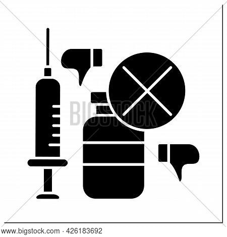 Vaccine Glyph Icon. Bad Influence On Health. People Avoid Vaccination. No Vaccinations Concept.fille