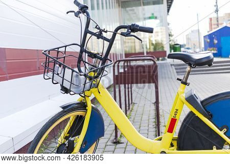 Bikesharing. Bicycles For Rent. Bicycle In The Bicycle Parking Near The Store. Ecological Urban Tran