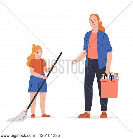 Concept Of A Happy Family, Housekeeping, Child, Parent. Young Woman With Her Daughter Wash The Floor