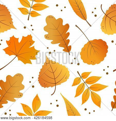 Autumn Cartoon Leaves Seamless Pattern. Fall Theme Background. Falling Leaves. Flat Design. Nature,