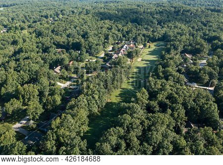 Aerial Drone View Of A Residential Golf Community Development In Fairfield Glade Tennessee