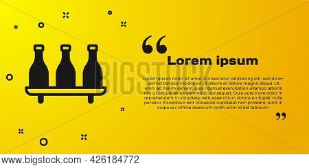 Black Bottle Of Wine Icon Isolated On Yellow Background. Wine Varieties. Vector