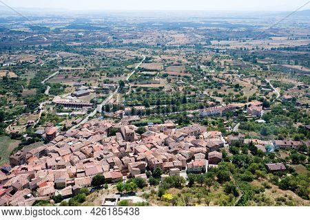 Aerial View Of Poza De La Sal, Merindades, Burgos, Birthplace Of Felix Rodriguez De La Fuente. Spain
