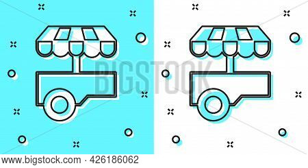 Black Line Fast Street Food Cart With Awning Icon Isolated On Green And White Background. Urban Kios