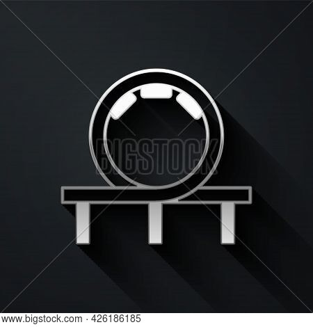 Silver Roller Coaster Icon Isolated On Black Background. Amusement Park. Childrens Entertainment Pla