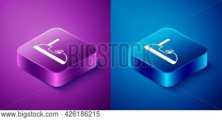 Isometric Bumper Car Icon Isolated On Blue And Purple Background. Amusement Park. Childrens Entertai