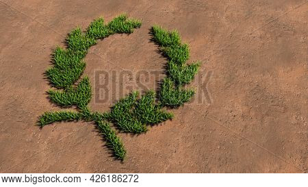 Concept conceptual green summer lawn grass symbol shape on brown soil or earth background, laurel wreaths sign. 3d illustration metaphor for victory, winning, success, achievement, triumph