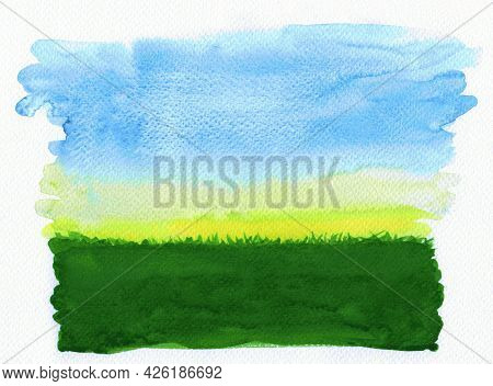 Watercolor Grass And Sky Background, Water Color Landscape Meadow Field With Sky View, Grass Lawn An