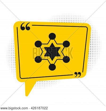 Black Hexagram Sheriff Icon Isolated On White Background. Police Badge Icon. Yellow Speech Bubble Sy