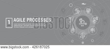 Agile Scrum Process & Development Icon Set Web Header Banner