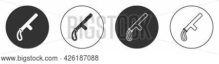 Black Police Rubber Baton Icon Isolated On White Background. Rubber Truncheon. Police Bat. Police Eq