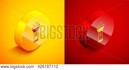 Isometric Flashlight Icon Isolated On Orange And Red Background. Circle Button. Vector