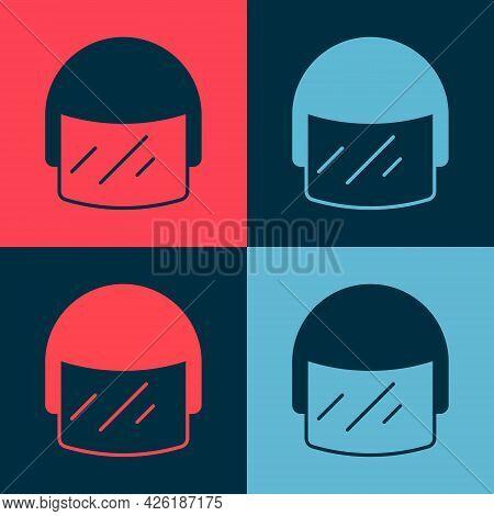 Pop Art Police Helmet Icon Isolated On Color Background. Military Helmet. Vector
