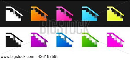 Set Skateboard Stairs With Rail Icon Isolated On Black And White Background. Vector